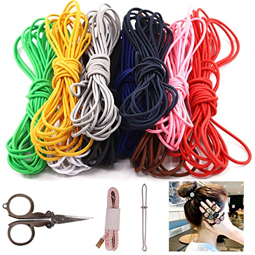 Keadic Colored Elastic Cords, 1/8 inch Elastic Rope Stong Elasticity Knit Elastic Band for Making Headbands, Hair Bands, Shoe Laces,Crafts DIY Projects (10 Colors)
