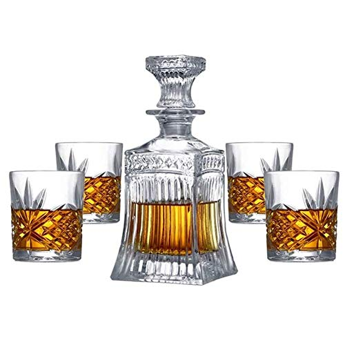 KAYBELE Whisky Decanter Crystal Whisky Decanter Set Que comprende 500 ml Whisky Fashioned Whisky Whisky Glass Glass Traje de Cinco Piezas 25.3cm * 10.7cm (Color : A)