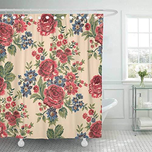 XZLWW Stof douchegordijn haak rood boho patroon borduurwerk rose vintage kleur in vanille blauwe bloemen over de hele