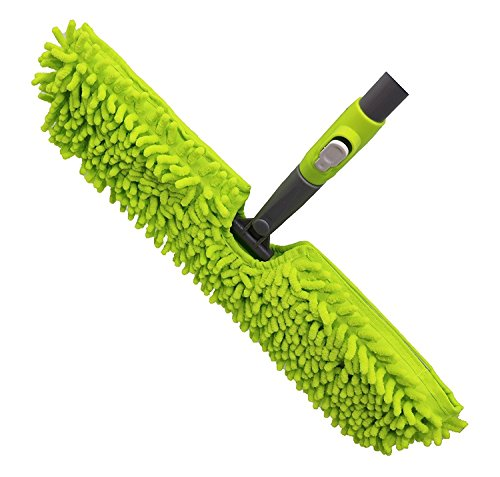 "Microfiber Floor Mop-Duster | Dual Side Action Wet 'N Dry | Dusts and Mops | Telescopic and Flexible Pole Adjusts to 66.5"" High 