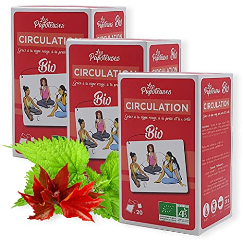 LES PAPOTEUSES | Tisana bio per circolazione grazie alla vite rossa, l'equiseto e l'ortica | 60 bustine | Confezione di 3 scatole da 20 bustine | Certificato biologico