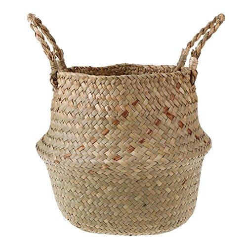 Akaddy Faltbarer handgemachter Gras Korbwaren Aufbewahrungskorb Hängender Wäschekorb (XL