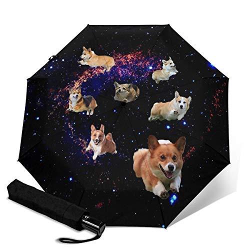 Automatischer Regenschirm Galaxy Cute Corgi Running Umbrella Screen Protect Dicker Sonnenschutz Stark Stabil Winddicht Regenschirme Winzig Leicht Faltbare Regenschirme Für Damen Herren Outdoor