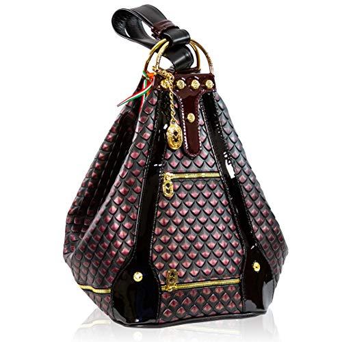 Marino Orlandi Damen Extra große Handtasche Italienische Designer-Handtasche aus echtem Leder Cabrio-Tasche Sling In Magenta Lila Gestepptes Design