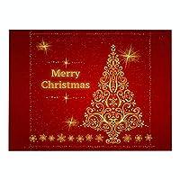 ランチョンマット 4枚セット おしゃれ 単層印刷 綿とリネン プレースマット ゴールデンクリスマスツリー ランチマット 布 華やか卓上飾り 高温耐性滑り止め防しわ 西洋料理マット コーヒーマット家庭 レストラン 用 贈り,32X42cm