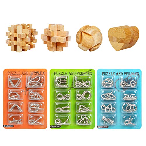 ActPo Brain Teaser Puzzles 28Pcs Unlock Interlock Game IQ Logic Test Wooden and Metal Puzzles 3D Puzzles Games for Kids and Adults 3D Unlock Interlock Puzzle Brain Teaser Educational Toy