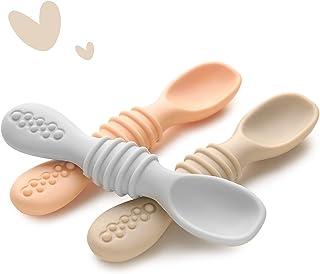 قاشق کودک سیلیکون Jocate برای نوزاد از شیرگیری 3 بسته ، ظروف کودک مرحله اول برای تغذیه نوزاد ، ست قاشق نرم سیلیکون درجه غذا برای تغذیه خود (آبی)