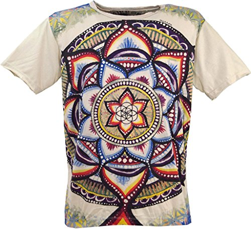 Guru-Shop Mirror T-Shirt, Herren, Universum/Beige, Baumwolle, Size:XXL, Bedrucktes Shirt Alternative Bekleidung