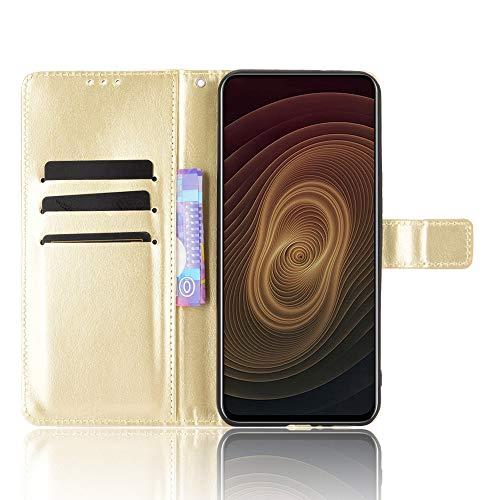 MingMing Lederhülle für ZTE Axon 20 5G/4G Hülle, Flip Hülle Schutzhülle Handy mit Kartenfach Stand & Magnet Funktion als Brieftasche, Tasche Cover Etui Handyhülle für ZTE Axon 20 5G/4G, Golden