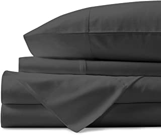 Charlotte Home Collection,1000 Thread Count,100% Pure Egyptian Cotton Sheet Set – Extra Soft,Luxury Finish– Smooth and Silky Sateen Weave Long-Staple Combed Egyptian Cotton–4 Piece Set–Dark Gray,Queen