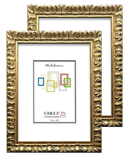 Chely Intermarket, Marco de Foto 15x20cm Dorado (x2Unds) Mod-217| Estilo Barroco | Marco de Madera para Decoración de Casa |...