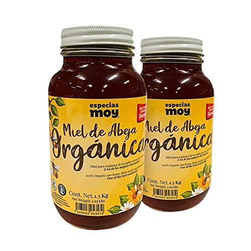Especias Moy Tarro Moy Miel de Abeja Orgánica, 1.3 Kg c/u, Dulce. Paquete de 2