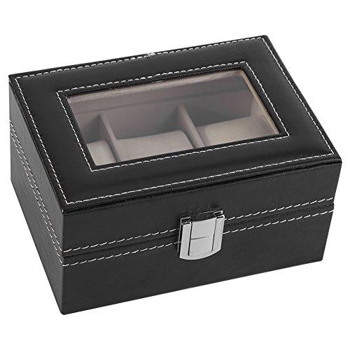 Caja de Reloj Transparente, Material de Cuero Madera Maciza y Cuero de PU Hecho Caja de Reloj para Reloj Joyas de exhibición Organizador de Almacenamiento Caliente (Negro)