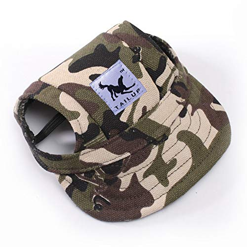 Leconpet Baseball Caps Hats with Neck Strap Adjustable Comfortable Ear Holes for Small Medium and Large Dogs in Ourdoor Sun Protection (S, Camouflage)