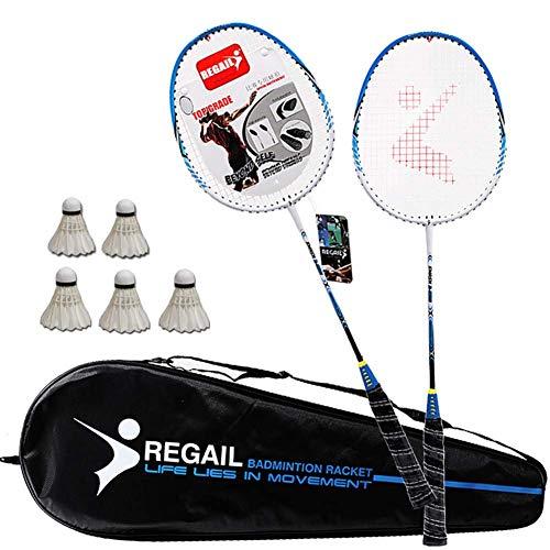 LEIJINGZI Juego de la raqueta de bádminton 2 jugador, con 6 talones de bádminton y bolsas de embalaje portátiles, utilizados for la familia de entretenimiento al aire libre y ejercicio regalos de los