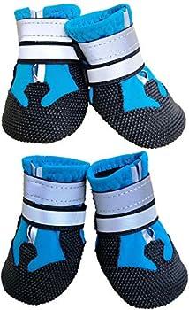 Ewolee 4 Pièces Bottes Chien, Bottes de Protection pour Chien Chien Chaussure Respirantes Chausson Antidérapant (S, Lac Bleu)
