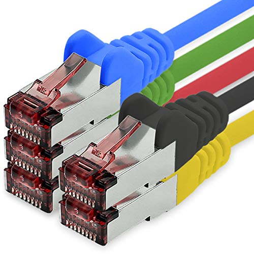 1CONN Cat6 Netzwerkkabel 0,15m 5 Farben Vari1 Patchkabel LAN Cat 6 LAN Netzwerk Kabel Sftp Pimf Lszh Kupfer 1000 Mbit s