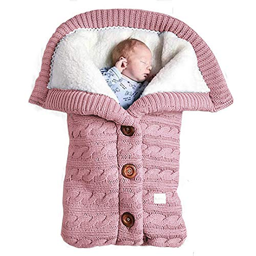 ToMoYi Unisex Baby Sleeping Bag Winter Removable Sleeves Baby Kids Toddler Thick Knitted Soft Warm Fleece Blanket Swaddle Sleeping Bag Baby Pram 0-18 Years