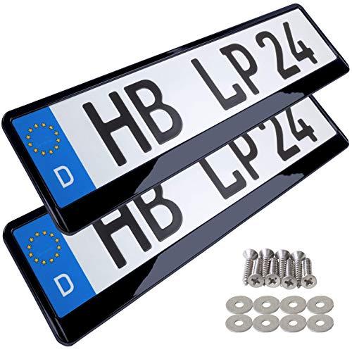 L&P A164 2 Stk Kennzeichenhalter Auto Nummernschildhalter Schwarz Hochglanz Kennzeichenverstärker Kennzeichenhalterung Nummernschildhalterung Verstärker Halter für Kennzeichen Nummernschild, edel glänzend ähnl Klavierlack Auto Lack Farbe