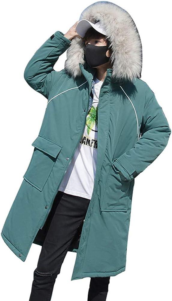 Down Jacket Winter Cotton Jacket, Men's Thicken Medium Long Hooded, Outdoor Winter Clothing, Material: Polyester Fiber/Filling: Imitation Silk Cotton Green