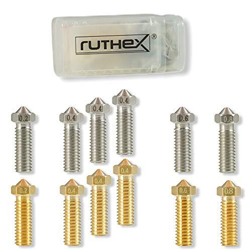 ruthex Set de 12 boquillas Nozzle Volcano para impresoras 3D - 6 boquillas de latón + 6 de acero inoxidable para filamento 1,75 - para impresoras Volcano Hotend como Artillery Genius y Sidewinder X1