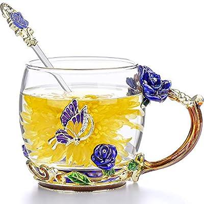 COAWG Glass Tea Cup, Hand Made Enamel Flower Clear Glass Coffee Mug with Handle,BirthdayGift for Women Grandma Mom Female Friend