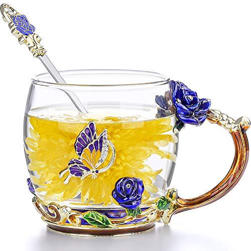 COAWG Taza de Té con Cuchara, Esmalte Hecha a Mano Cristal Taza Transparente de Cristal Azul Taza de Té y Café con Manija Elaborada de la Flor Diseño Único Regalos para Mujeres de Navidad- 11oz 330ml