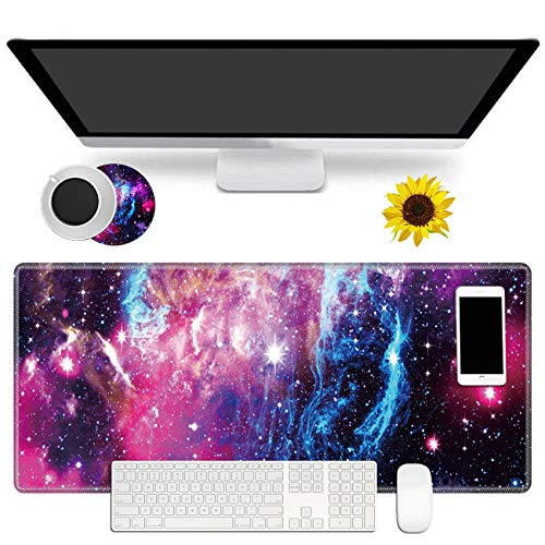 """Large Gaming Mouse Pad Non-Slip Keyboard Pad Soft Extended Desk Mat Desktop Writing Pad (31.5""""×11.8"""") with Nebula Galaxy Design for Home & Office + Cup Coaster and Cute Stickers"""