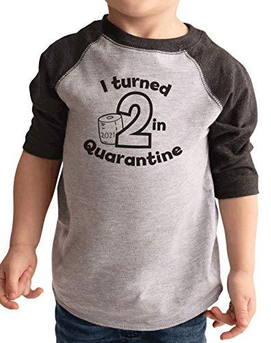7 ate 9 Apparel Kids Two 2 Second 2nd Birthday Quarantine 2021 Grey Raglan 3T