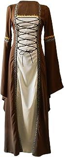 FYMNSI FYMNSI Damen Mittelalter Kleid Gothic Retro Langarm Partykleid Renaissance Cosplay Mittelalterliches Kostüm Viktorianischen Königin Kleid Langes Abendkleid Maxikleid für Halloween Karneval Khaki L