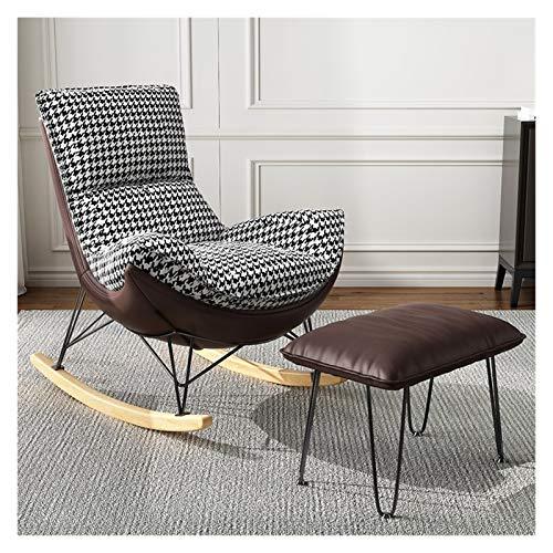 LYQZ Silla Mecedora de un Solo sofá reclinable Franela Lazy Sofa Balcony Lounge sillón con reposapiés