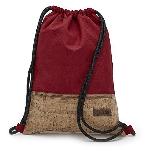 By Bers LEON Turnbeutel mit Innentaschen in Kork oder Schlange -DesignRucksack Tasche Damen Herren & Teenager Gym Bag Draw String (Kork_Rot)