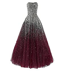 Burgundy Long with Rhinestones Evening Pageant Gown