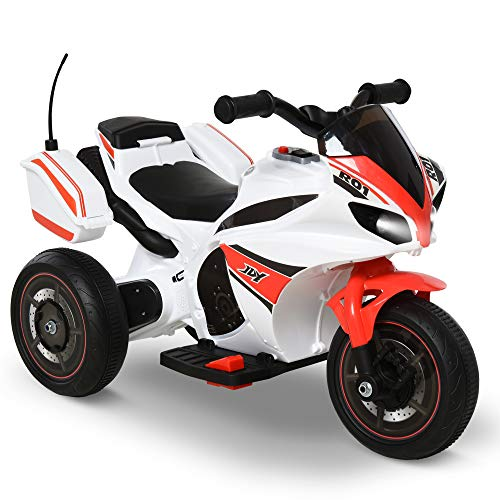 HOMCOM Moto Eléctrica para Niños de +18 Meses con Faros Música Batería 6V Recargable 3 Neumáticos Anchos Baúles de Almacenaje Moto de Juego 73x39x50 cm Rojo