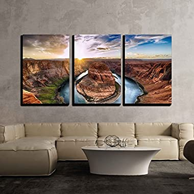 wall26 - 3 Piece Canvas Wall Art - Sunset Moment at Horseshoe Bend, Colorado River, Grand Canyon National Park, Arizona Usa - Modern Home Decor Stretched and Framed Ready to Hang - 16 x24 x3 Panels