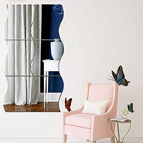 6 pegatinas de pared de espejo ondulado, 3D espejo arte DIY hogar decorativo acrílico espejo pared hoja de plástico espejo azulejos para el hogar, ajuste decoración de pared calcomanía
