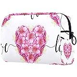 Bolsa de maquillaje de dibujos animados bolsa de cosméticos impresa artículos de tocador de viaje bolsas de cosméticos para mujeres rosa blanco amor flor