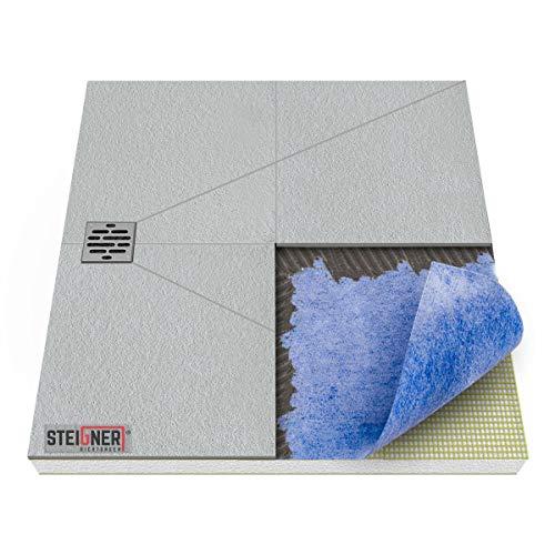 STEIGNER Duschelement inkl. DICHTFOLIE Duschboard befliesbar Dezentral Pos. 4, 100x120cm, EPS Bodenelement, Ablauf WAAGERECHT