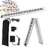 Vogvigo 88 Teclas Piano Digital Plegable,Teclado de Piano con Bluetooth,MIDI,Pedal Sostenuto,Aplicación con Práctica de Interpretación,128 Sonidos Integrados,Adecuado para Principiantes, Niños,Adultos