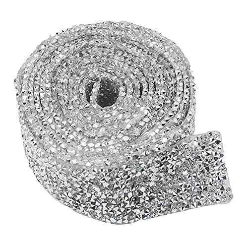 XINGYHENG 1.2 inch Wide 2 Yard Crystal Rhinestone Strips Diamond Ribbon Rhinestone Trim Glue Patch Decorated Diamond Netfor Crafts Project Birthday Decorations and Arts Furniture Clothing