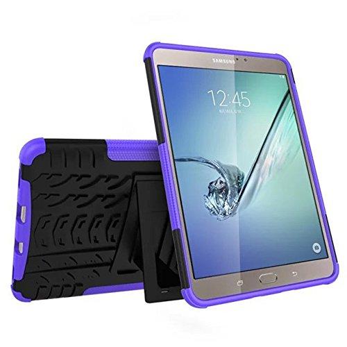 Galaxy Tab S2 Hülle,SUNWAY Hybrid 2 In 1 Kick Ständer Robust Stark Stark [Hohe Schlagfestigkeit] Stoßfest Hart Silikon Gummi Dual Layer Schutzhülle für Samsung Tab S2 8,0 Zoll T710 / T715, Lila
