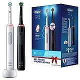 Oral-B Pro 3-3900 - Set Di 2 Spazzolini Elettrici Bianco E Nero, 2 Spazzolini Con Sensore Di...