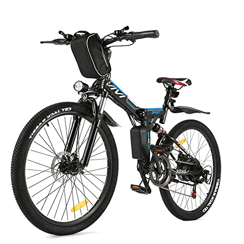 """VIVI Folding Electric Bike Electric Mountain Bike 26"""" Lightweight Electric Bicycle 350W Ebike, Electric Bike for Adults with Removable 8Ah Lithium Battery,Professional 21 Speed Gears (8AH Black&Blue)"""