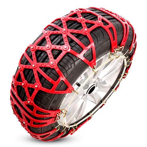 Cadenas de nieve antideslizantes for neumáticos portátil fácil de montar tracción de emergencia (Color : Red-185/80 R14-c)