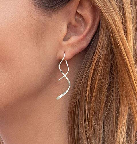 Spiral Threader Earrings 925 Sterling Silver Drop Dangle Handmade Twisted Linear Curved Minimal product image