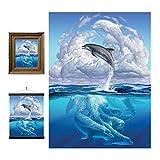 3D LiveLife Lenticular Cuadros Decoración - Sinfonía de delfines de Deluxebase. Poster 3D sin marco del océano. Obra de arte original con licencia del reconocido artista, Jerry LoFaro