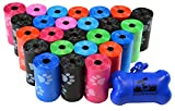 500 Pet Waste Bags, Dog Waste Bags, Bulk Poop Bags with Leash Clip and Bone Bag Dispenser - (500 Bags, Rainbow with Paw Prints)
