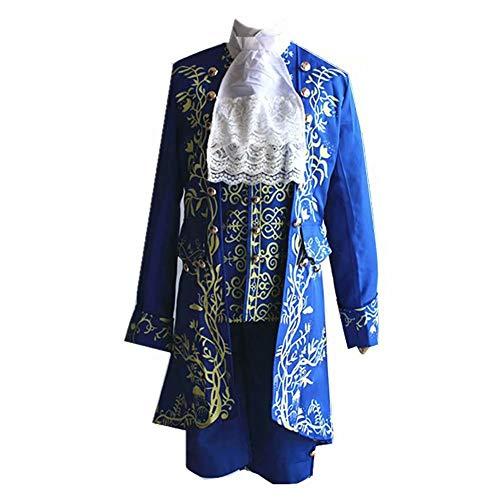 La Bella e la Bestia Il Principe Dan Stevens Uniforme Blu Costume Cosplay Abito da Uomo Aristocrat Costume La Bella e la Bestia Costume Ultra prestigio Pelliccia Sintetica, Blu