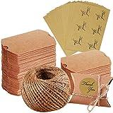100 cajas de almohada de papel kraft para regalos de Navidad, bodas, fiestas, regalos de yute + 102 pegatinas de agradecimiento