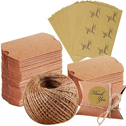 100 cajas de papel kraft, para regalo de Navidad, boda, fiesta, cuerda de yute + 102 pegatinas de agradecimiento